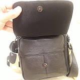 Городская черная мужская сумка из натуральной кожи, фото 8