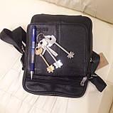 Городская черная мужская сумка из натуральной кожи, фото 5