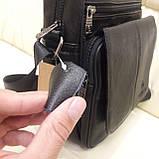 Городская черная мужская сумка из натуральной кожи, фото 3