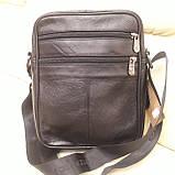 Городская черная мужская сумка из натуральной кожи, фото 6