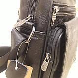 Городская черная мужская сумка из натуральной кожи, фото 9