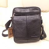 Городская черная мужская сумка из натуральной кожи, фото 10