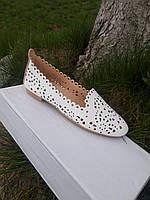 Женские летние белые балетки (туфли, мокасины). Размеры 36, 37, 38, 39, 40, 41. Фабричная цена.