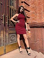 Женское платье Balmain Балмаин брендовое весна-лето нарядное без рукавов цвета марсала с золотыми пуговицами