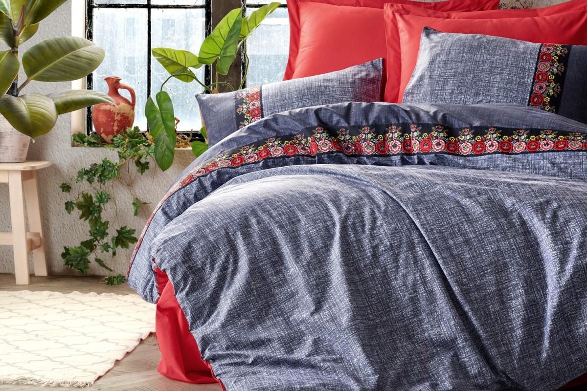 Постельное белье 2-спальное евро COTTON BOX Folk Art Lacivert