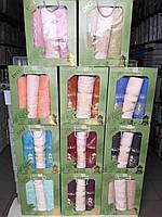 Набор Полотенец Для Лица (2 шт) и Бани в Коробке На Подарок Бамбук Махровые Турция Gulcan