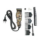 Профессиональная машинка для стрижки волос Gemei GM - 1018 с 4 насадками декорированная, фото 5