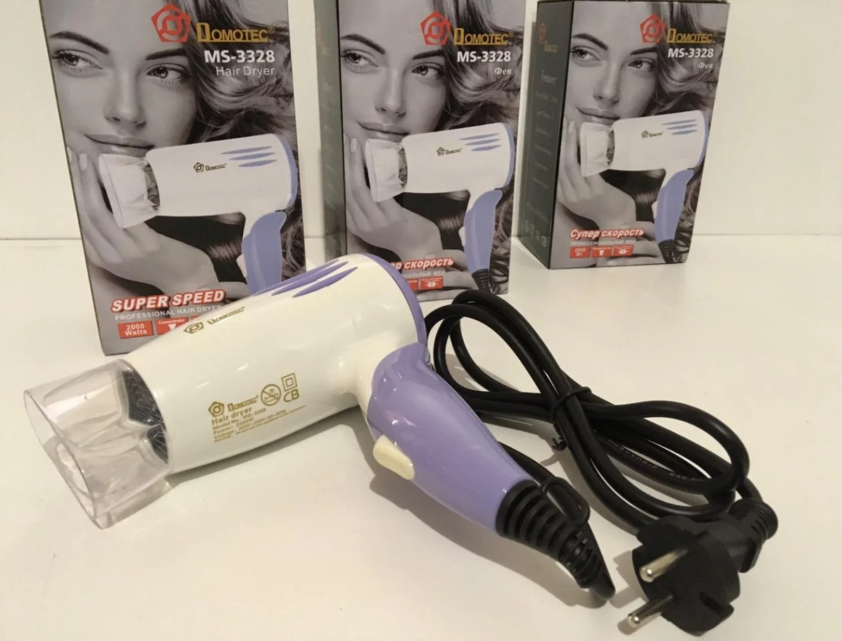 Фен для волос Domotec MS-3328 2000 Вт, Фен дорожный складная ручка