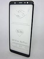 Захисне скло 5D для Samsung Galaxy А6 plus 2018 р A6+ 2018 р дпа весь екран чорний, фото 1