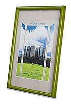 Рамка 35х35 из пластика - Зелёный салатовый - со стеклом