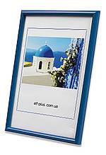 Рамка 35х35 из пластика - Синий яркий - со стеклом