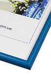 Рамка 35х35 из пластика - Синий яркий - со стеклом, фото 2