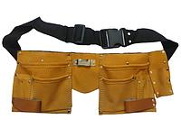 Пояс кожаный для инструмента 10 карманов Technics 16-701