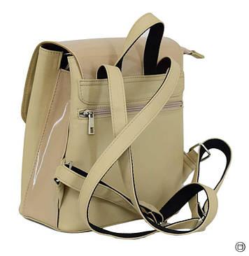 Женский рюкзак  кожзам Case 646 беж лак беж, фото 2
