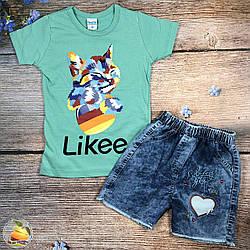 """Джинсовые шорты и футболка """"Likee"""" для девочки Размеры: 5,6,7 лет (20408-1)"""