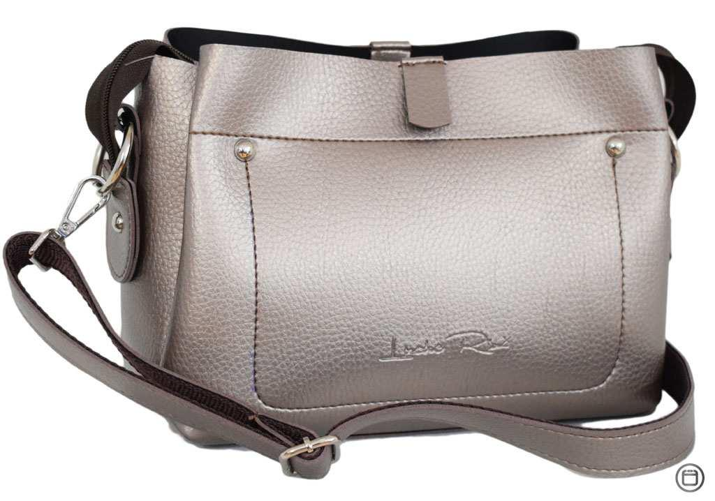 Женская сумка кроссбоди Case 574 серебряная бронза