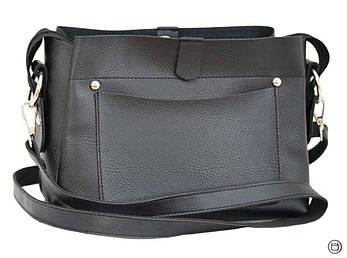 Женская сумка из экокожи Case 475 матовая черная , фото 2