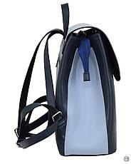 Женский рюкзак кожзам Case 647 синий голубой, фото 3