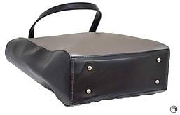 Жіноча сумка-шоппер Україна 518 екокожа срібло чорна, фото 3