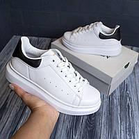 Кроссовки женские Alexander McQueen white black / Стильные кроссовки Александр Маккуин белые