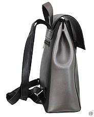 Женский рюкзак экокожа Case 608 черний серебро, фото 3