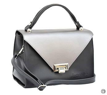 Женская сумка из кожзама Case 572 черная серебро н, фото 2