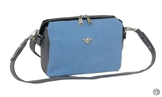 Жіноча сумка через плече 644 замш сіра блакитна, фото 2