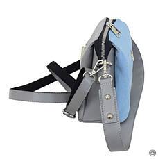 Жіноча сумка через плече 644 замш сіра блакитна, фото 3