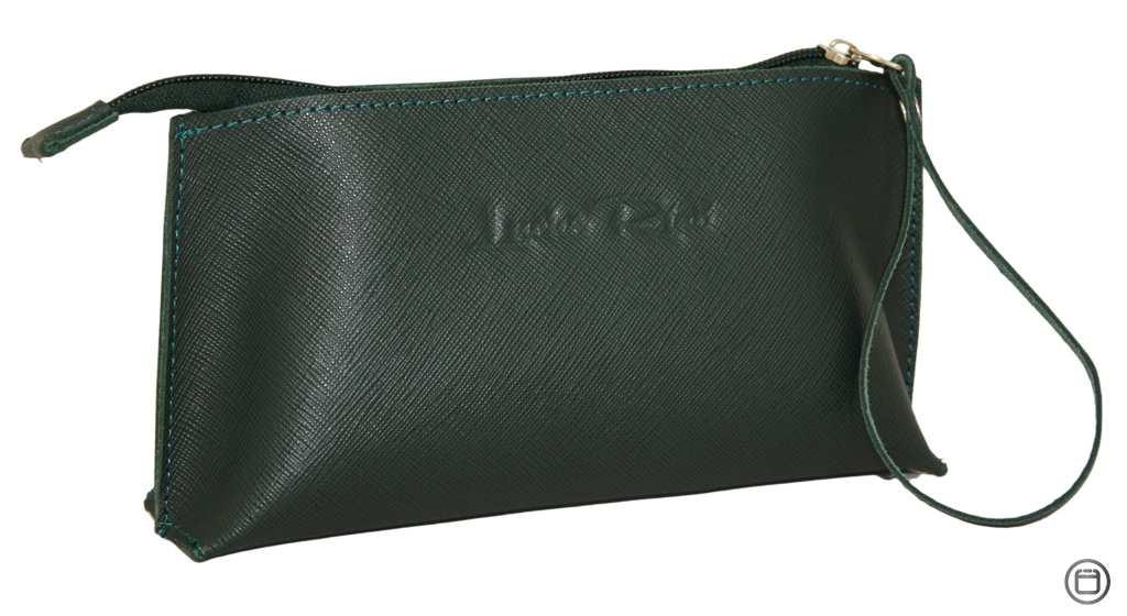 Женская косметичка кожаная Case 487 зеленая