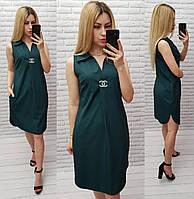 Платье / сарафан с брошью и карманами, арт 167,  цвет тёмно зелёный / бутылка / зелёного цвета