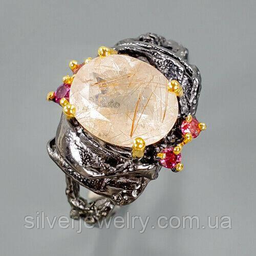 Серебряное кольцо с РУТИЛЛОВЫМ КВАРЦЕМ (натуральный!), серебро 925 пр. Размер 18,75
