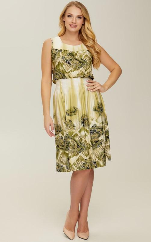 Платье больших размеров легкое нарядное женское летнее трикотаж масло