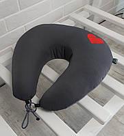 Дорожная подушка под голову и шею EKKOSEAT.  Нежность. Серая.