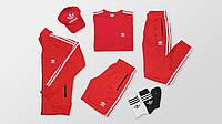 Спортивный костюм мужской Adidas Originals комплект черный красный (набор 7 в 1)