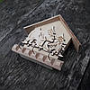 Ключниця дерев'яна настінна, будиночок 15 см., фото 3