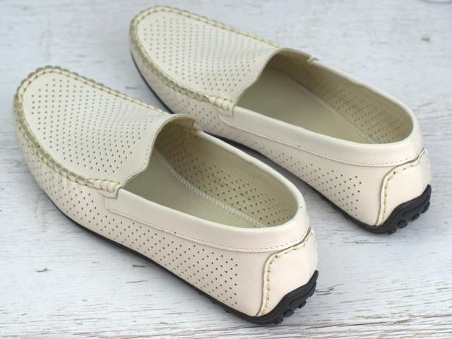 Мокасини бежеві шкіряні літні перфорація чоловіче взуття великих розмірів Rosso Avangard M4 Beige FlotaPerf BS