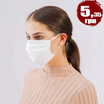 Одноразова тришарова маска з медичного матеріалу від 10шт на гумках (Біла) HQ56