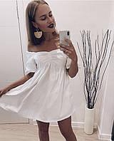 Женское летнее короткое натуральное коттон платье фонарик свободное белое голубое мини 42-44 44-46