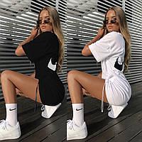 Женское летнее короткое платье футболка белое черное с хлопка натуральное 42-48