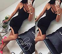 Женское летнее короткое коктейльное платье с разрезом с вискозы черное персик 42-44
