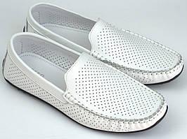 Чоловіче взуття великих розмірів літні мокасини шкіряні білі перфорація Rosso Avangard BS M4 Flotar PerfWhite