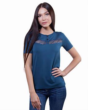 Нарядная женская футболка с кружевом (размеры XS-3XL)