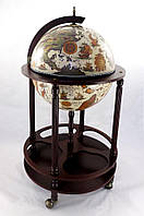 Оригинальный Глобус бар напольный 420 мм на 4 ножках с изображением древней карты, беж-темная вишня