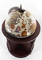 Оригинальный Глобус бар напольный на 4 ножки с изображением древней карты с парусниками, беж-темная вишня