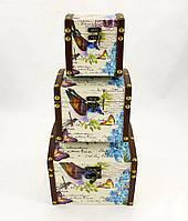 Декоративный сундук, комплект из трёх сундуков птица