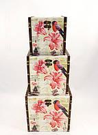 Набор из трёх сундуков Эйфелева башня с цветком, декоративная мебель