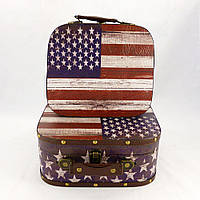 Декоративный сундук -чемодан набор из 2-х флаг США