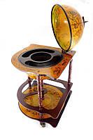 Вместительный Глобус бар напольный угловой коричневый с полкой и древней картой мира