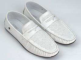 Белые летние кожаные мокасины перфорация обувь больших размеров ETHEREAL BS Flotar White Perf Rosso Avangard
