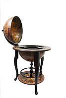 Красивый Глобус бар напольный коричневый с полкой на трех ножках и картой древнего мира с кораблями